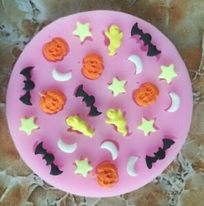 Halloween Pumpkin Silicone Mold Baking Mould Bat Topper Sugar Craft Decoration