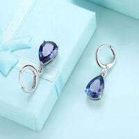 Cushion-cut Created Blue Sapphire & White Topaz Leverback Earrings in Silver