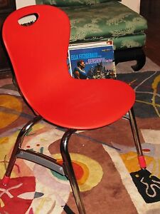 Chair Old School Cool Virco Retro Modern Art Deco Red Molded Polypropylene Shell