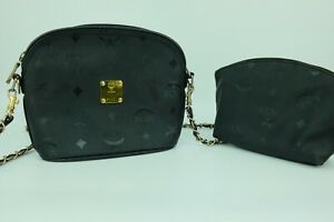100% Authentic MCM Black  Vintage Handmade in German Chain Crossbody Bag + Pouch