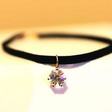 NEW Choker Necklace Jewelry Cubic Zirconia Pendant Black Women Fashion Statement