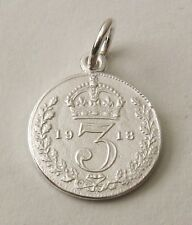 SOLID 925 STERLING SILVER UK 1918 THREE PENCE COIN Charm/Pendant
