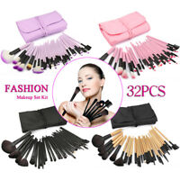 32pc Purple Professional Soft Cosmetic Eyebrow Shadow Makeup Brush Set +Bag Tool