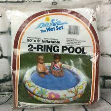 "Intex Wet Set Tiger Elephant Giraffe Inflatable Swimming Pool 50""x 9"" Vtg. 1983"