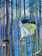 Ida Rentoul Outhwaite Witch Cat Broom Trees Halloween vintage art