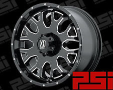 "22"" INCH KMC MENACE WHEELS X4 RIMS ALLOYS GLOSS BLACK MILLED EDGE 22X9.5"