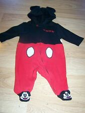 Size 0-3 Months Disney Baby Mickey Mouse One-Piece Sleeper Costume Hooded Ears