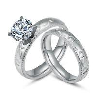 Fashion Stainless Steel Silver Couple Wedding Round CZ Rings Women Men Size 6-11