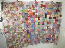 "Vintage 1940's Hand Sewn Quilt TOP -For Projects 87"" x 65"" QT#4"