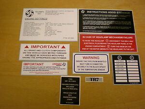 Triumph TR7 TR8 ** UNDER BONNET STICKER SET ** Set of 9 Information labels