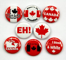 "8 CANADA Buttons Pinbacks Badges 1"" Canadian Maple Leaf"