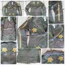 Celeb Style Womens One Button Cotton Blazers Olive Green floral print jacket S
