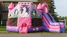 Inflatable Pink Princess Castle Combo Slide Bounce House Moonwalk FREE SHIPPING