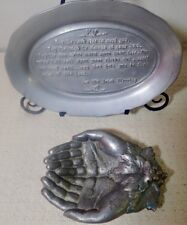 vintage Pewterex Tray w/ Irish Blessing & old Pewter Bowl shaped like 2 Hands