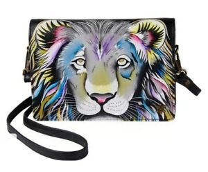 Anuschka Hand-Painted Leather Crossbody Organizer Wallet-Lion Pride-NWT-$148.00