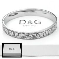 "DG Women's 7"" Silver Stainless Steel,CZ Eternity 10mm Band Bangle Bracelet +Box"