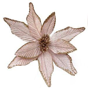 Pink Gold Velvet Poinsettia Floral Pick Christmas Ornament Decoration Wreath R0