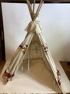Fabric Toy Teepee Wood Poles 30x24 Inch