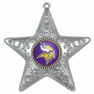 """MINNESOTA VIKINGS Ornament NFL Silver Star X-Mas Christmas Tree NIB 4.5 """" TALL"""