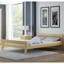 Wooden Pinewood Bed Frame 4FT Small Double 120x190 cm Slats Varnished Pine Wood
