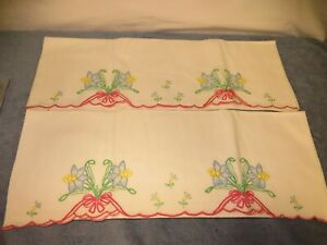 Vintage Pair Hand Embroidered Pillowcases - Blue Lily Flowers - w