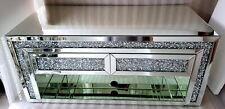 Mirrored TV Unit Media Stand Sparkly Silver Diamond Crush Crystal 2 Drawer