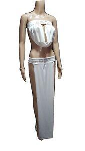 Exotic Dancer Sexy Stripper Slave Skirt w/ Drape Top Rhinestones