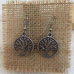 Handmade Vintage Style Tree Of Life Boho Festival Drop Earrings.