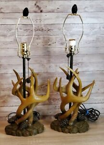 2 Deer Antler Table Lamps Furniture Hunting Modern Contemporary