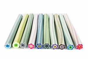 10 Stangen Fimo Stange Nail Art Blüten Bunt Fimonägel Einleger je Stange 5cm