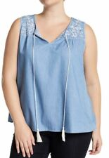 Blu Pepper Womens Plus Size 3X Blue Sleeveless Embroidered 100% Cotton Top NWT