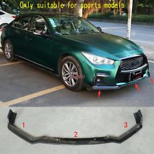 For 2018 Infiniti Q50 sport Model 3PC Carbon fiber Front Bumper Spoiler Chin Lip