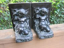 Art Nouveau Ronson Cherub & Butterfly Metal Bookend Set Early 1900's + Sticker