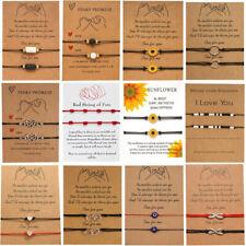 Handmade Sunflower Lucky Rope Bracelet Bangle Friendship Couple Card Jewelry