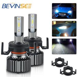 Bevinsee 2x H7 Custom LED Headlight Bulbs & Adapter Holder Retainer Kit For Ford
