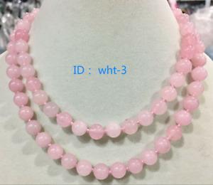 New 10mm Pink Quartz Crystal Round Gemstone Necklace 35 inches