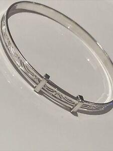 SOLID Sterling Silver Baby Bangle Bracelet 4mm Wide - 40mm - 50mm Christening