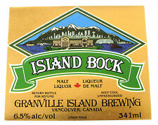 Granville Island Brewing ISLAND BOCK beer label CANADA 341ml 6.5% ABV