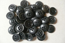 40 Black Buttons. Unisex. Small. 13mms. Vintage. New Old Stock
