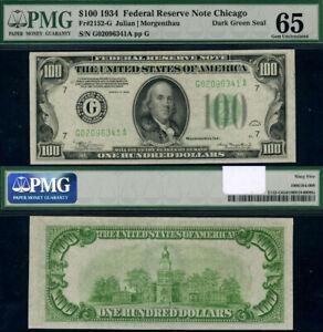 FR. 2152 G $100 1934 Federal Reserve Note Non-Mule Chicago G-A Block Gem PMG CU6