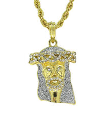 """14k Gold Plated Jesus Piece Iced Out Cz Pendant 24"""" Rope Chain Hip Hop Necklace"""