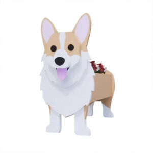 1x Indoor Garden Plant Potted Stand Dog-Shaped Cute Animal Wood Pot Flowerpot