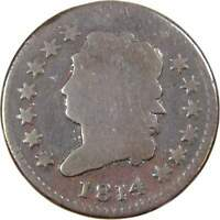 1814 Plain 4 Classic Head Large Cent AG About Good Copper Penny 1c US Type Coin