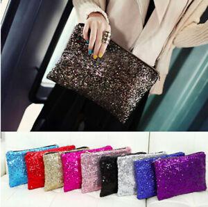 Sexy Women Sparkling Sequins Clutch Bag Dazzling Purse Handbag Evening Party UK