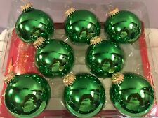 Christmas ornaments set of 8 glass glossy green balls CH6615