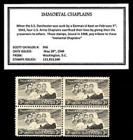 1948 - IMMORTAL CHAPLAINS -  Block of Four Vintage U.S. Postage Stamps