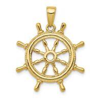 14K Ship Wheel Pendant New Charm Yellow Gold