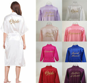 UK Long Personalized Satin Wedding Robe Bridesmaid Bride Nightwear Dressing Gown