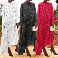 UK Women Long Sleeve Casual Loose Long Dress Polka Dot Kaftan Asymmetric Dresses