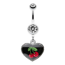 Cherry Heart Dangle Belly Navel Button Ring Clear 14G